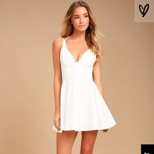 Lulu's believe in love white backless skater dress